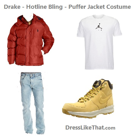 drake - hotline bling - puffer jacket costume