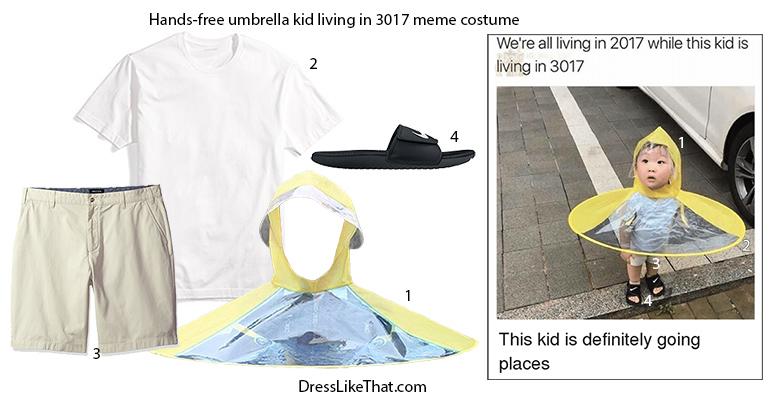 Hands Free Umbrella Kid Living In 3017 Meme Costume