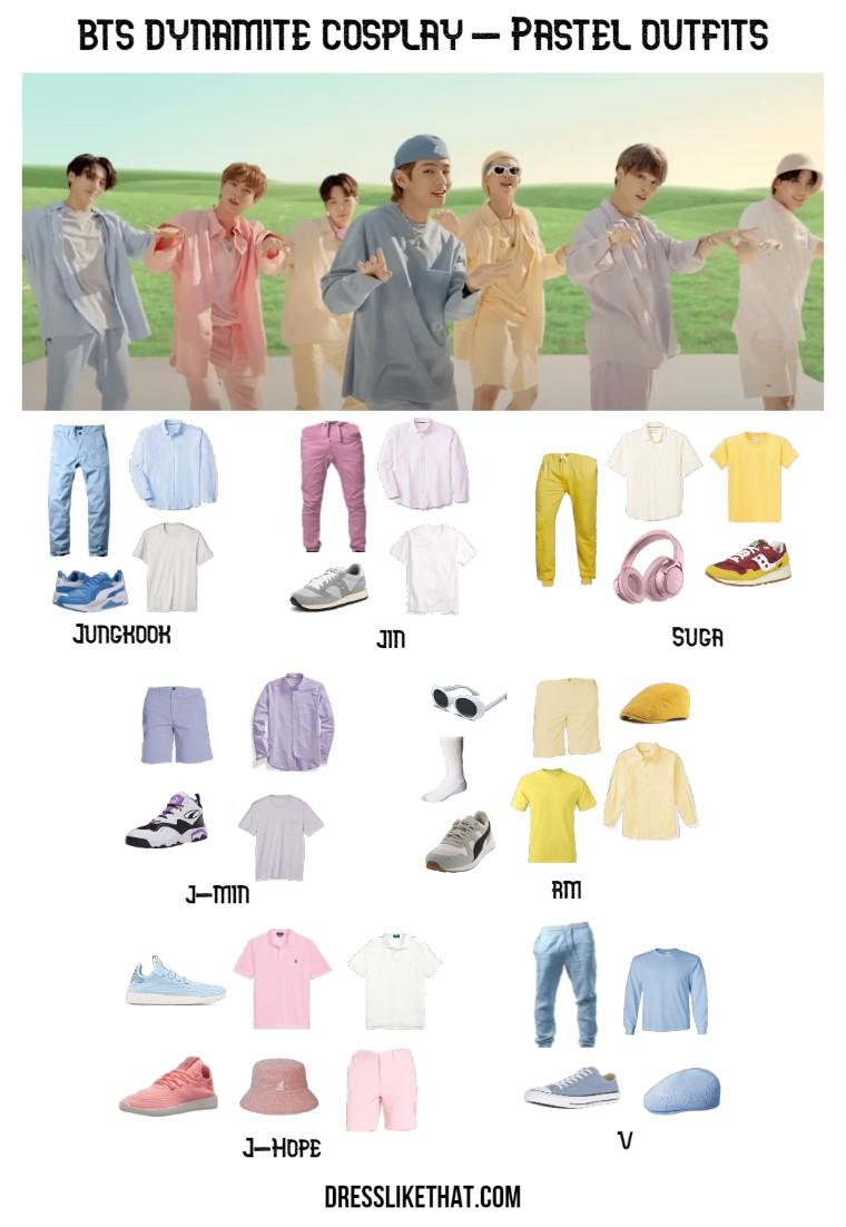 bts dynamite cosplay - pastel outfits